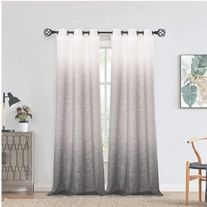 New White to grey Ombre Window Curtain Panel Linen